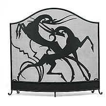 FIGHTING GOATS FIRE SCREEN