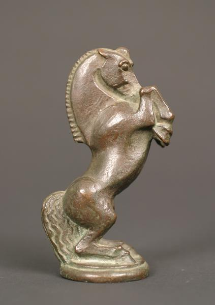 KNIGHT (HORSE) CHESS PIECE, c. 1920 Bronze 4 5/8 x...