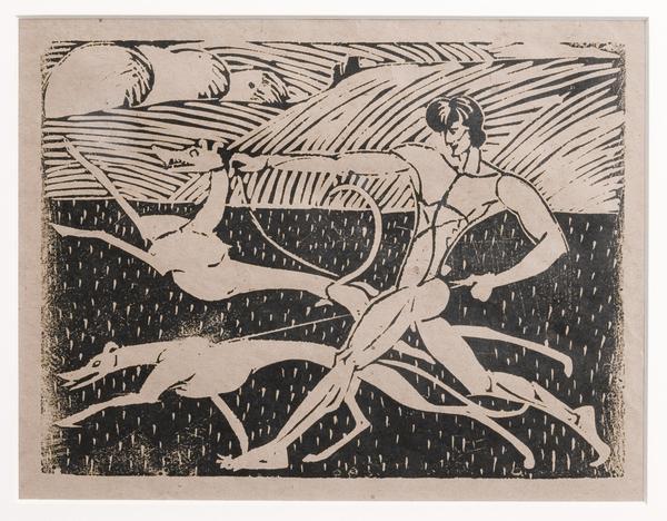 HOUNDS ON LEASH, c. 1918 Linoleum cut 5 5/8 x 7 1/...