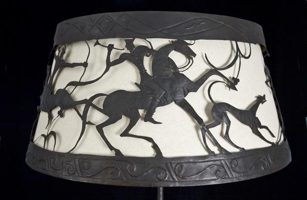 HUNTING SCENE FLOOR LAMP, c. 1925 Iron, steel, pap...