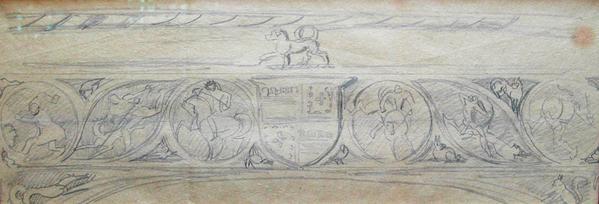 MANTLE DESIGN WITH FIGURES, c. 1916 Graphite, fram...