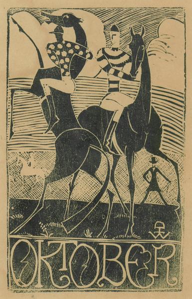 JOCKYS, OKTOBER, c. 1925 Woodcut 8 3/8 x 5 5/8 inc...
