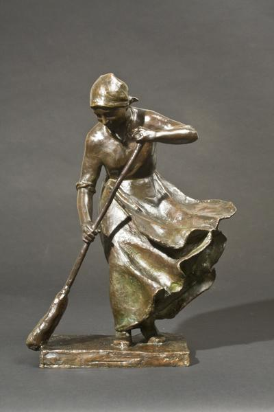 THE WINDY DOORSTEP, 1910 Bronze 14 x 10 1/2 x 6 in...