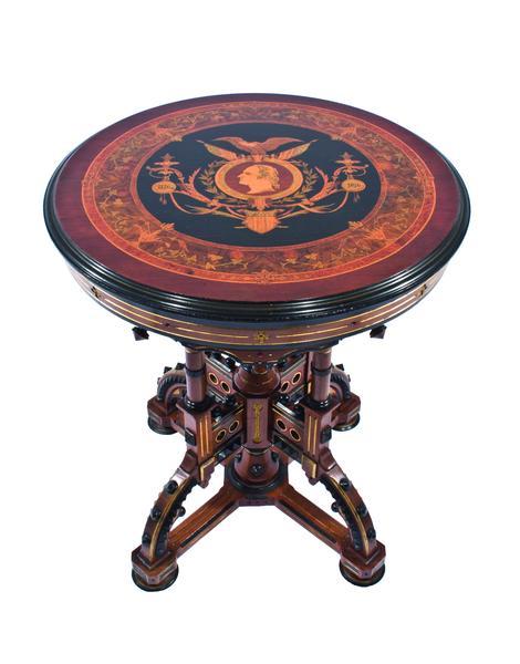 CENTENNIAL PEDESTAL TABLE, c. 1876 Walnut, maple,...