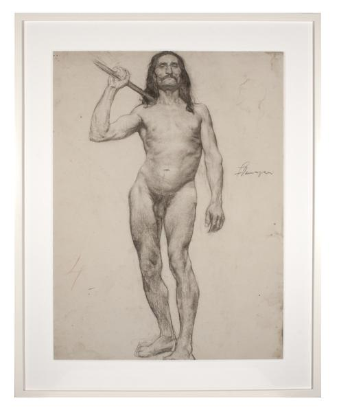 ÉCOLE des BEAUX-ARTS: MALE WITH LONG HAIR,...