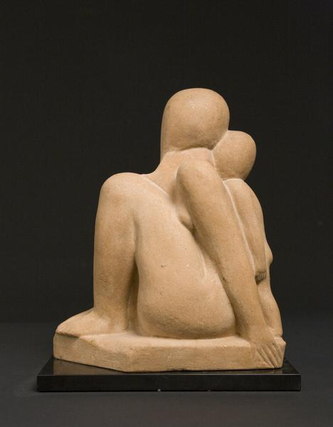 MOTHER AND CHILD, c. 1932-33 Cast stone 14 7/16 x...