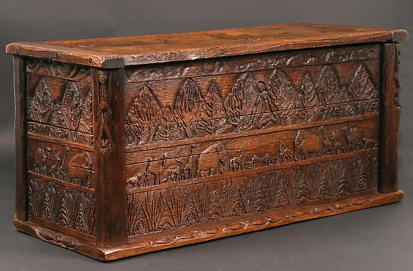 OAKEN CHEST, 1924–25 Wood, metal hinges 17 3...