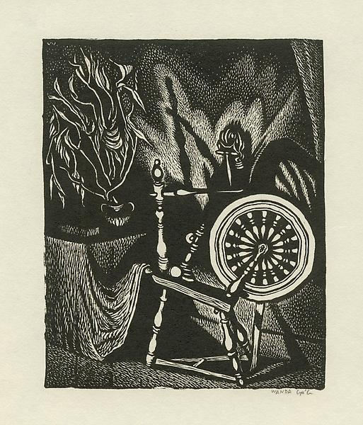 SPINNING WHEEL, 1928 Wood engraving on boxwood 4 3...