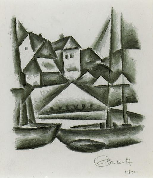 WHARF, GLOUCESTER, 1922 Crayon and graphite 9 1/2...