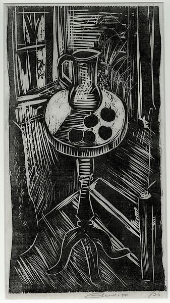 STILL LIFE WITH PITCHER & 5 APPLES, 1926 Woodcut 1...