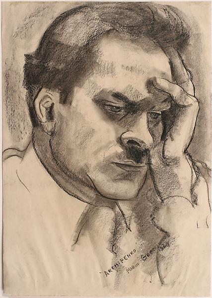 PORTRAIT OF ALEXANDER ARCHIPENKO, 1930 Charcoal 14...