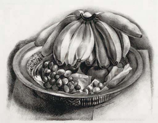 BANANAS AND GRAPES, c. 1930 Crayon on paper 16 x 2...