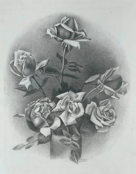ROSES, c. 1932 Crayon and ink on paper 16 1/4 x 13...