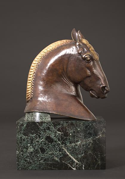 HEAD OF SUFFOLK PUNCH Bronze with gilding on origi...