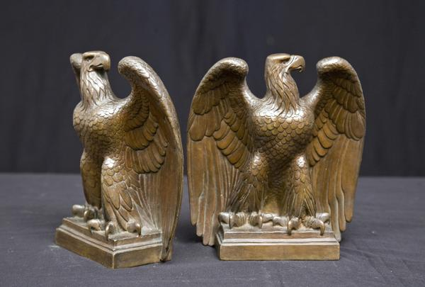 AMERICAN EAGLE BOOKENDS, 1915 Bronze 8 5/8 x 7 1/2...