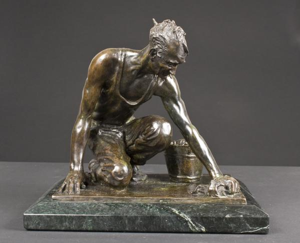 BILL WORKING, 1923 Bronze 9 3/8 x 10 1/8 x 7 5/8 i...