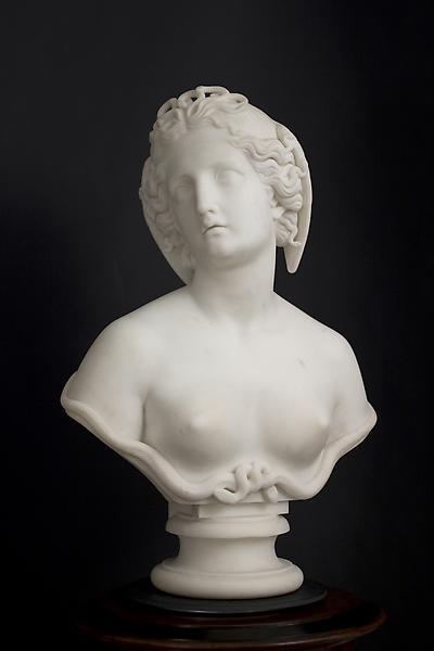 MEDUSA, c. 1854 Marble on original socle 28 x 18 x...