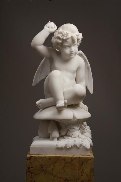 PUCK ON A TOADSTOOL, c. 1856 Marble on original fa...