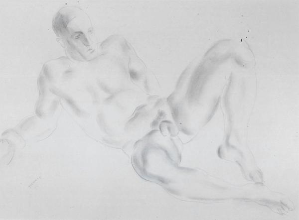 RECLINING MALE NUDE (also FALLEN BOXER), c. 1934 G...