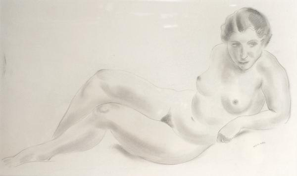 RECLINING FEMALE NUDE, c. 1935 Graphite on paper l...