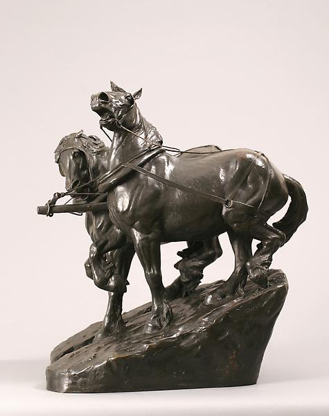 DOWN HILL, 1903 Bronze 20 1/2 x 14 x 18 inches Sig...