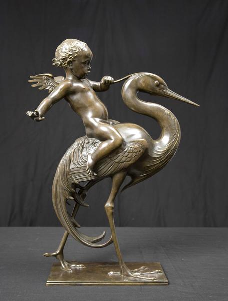 CUPID AND CRANE, Modeled 1923 Bronze 21 3/4 x 15 1...