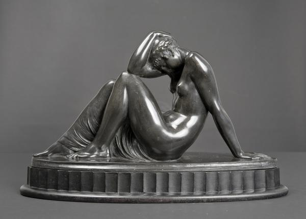 REPOSE, 1920 Bronze on original ebonized wood base...