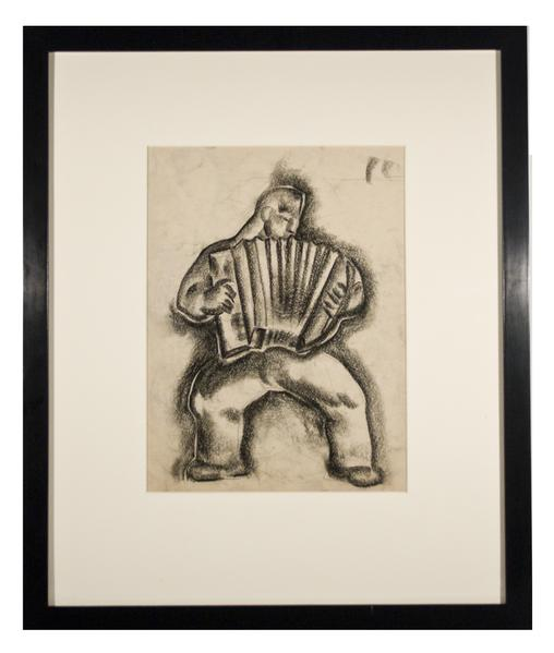ACCORDIAN PLAYER, c. 1936 Charcoal 11 3/4 x 9 inch...