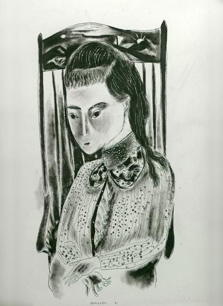 MISS GRACE, 1921 Ink in original frame 12 1/2 x 10...