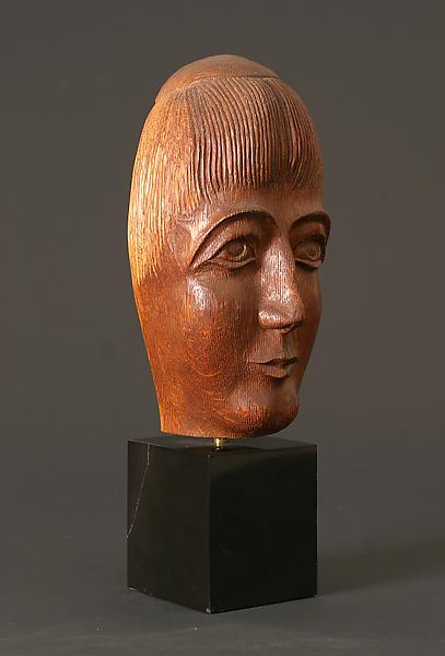 HEAD (or MASK), c. 1915 Walnut on marble base 8 1/...