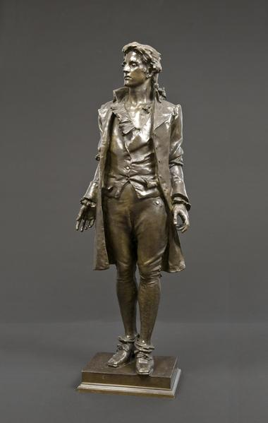 NATHAN HALE, 1890 Bronze 28 1/4 x 9 3/4 x 6 1/8 in...