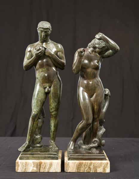 ADAM and EVE, 1924 Bronze on original marble base...