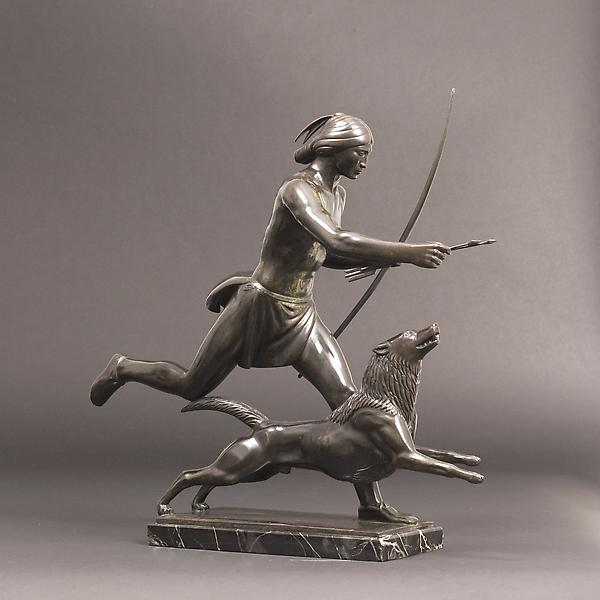INDIAN HUNTER AND HIS DOG, 1926 Bronze on original...