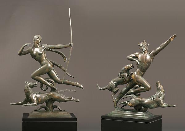 DIANA, 1925 Bronze with gilding 62 3/16 x 42 3/4 x...