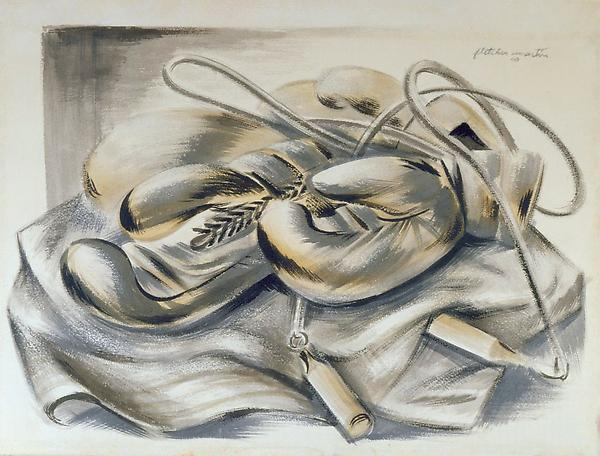 BOXING GLOVES, JUMP-ROPE, AND ROBE, 1940 Ink and w...