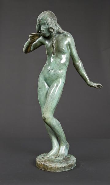 GIRL DRINKING FROM SHELL: FOUNTAIN, 1915 Bronze 28...