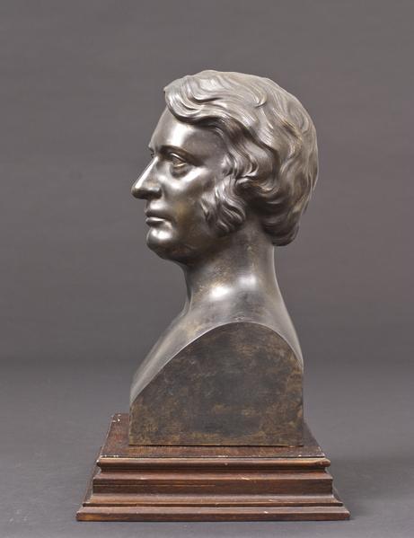 BUST OF SENATOR CHARLES SUMNER, 1864 Bronze 11 1/2...
