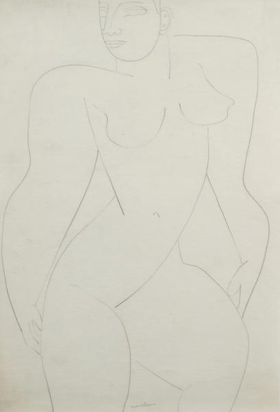 FEMALE NUDE, c. 1932 Graphite on paper 16 1/2 x 11...