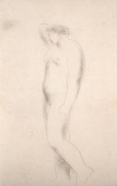 STANDING NUDE, 1929 Charcoal 17 x 10 1/2 inches Si...