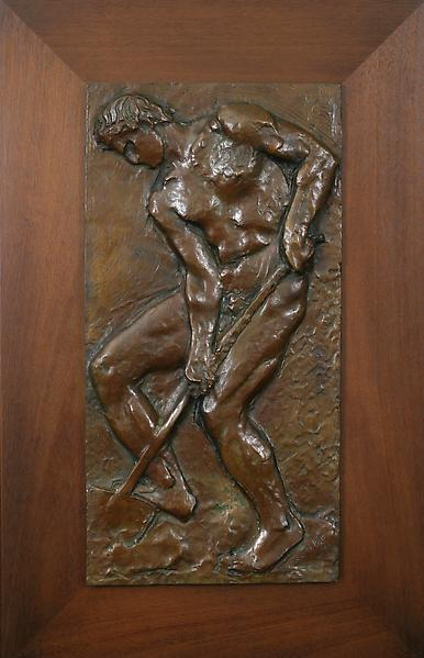 ADVANCE FOREVER / ETERNAL YOUTH, 1934 Bronze bas-r...