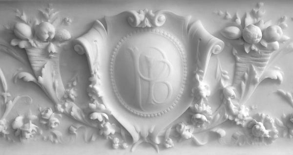 FIREPLACE SURROUND, c. 1893 Marble with brass inse...