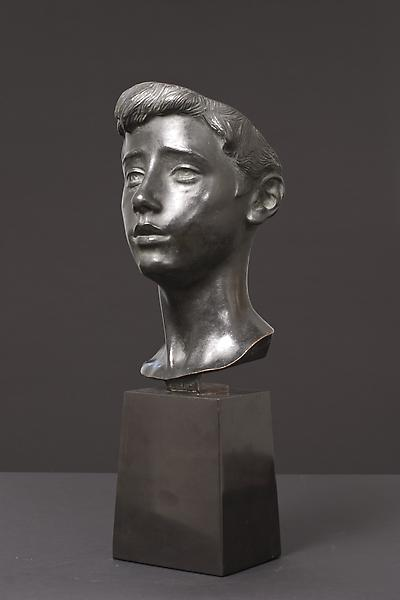 HEAD OF A BOY, c. 1889 Bronze on original black ma...