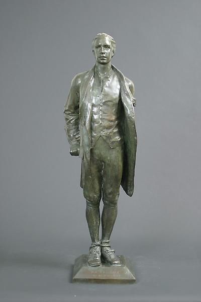 NATHAN HALE, c. 1912 Bronze 35 x 10 1/2 x 9 inches...