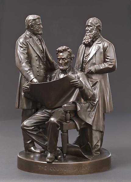 COUNCIL OF WAR, 1868 Bronze 23 3/4 x 13 3/4 x 11 1...