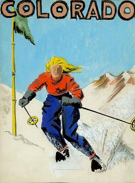 COLORADO DOWNHILL Mixed media and collage on card...