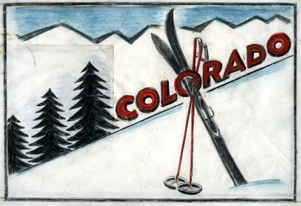 COLORADO SKIING, c. 1933 Mixed media on pieced pap...