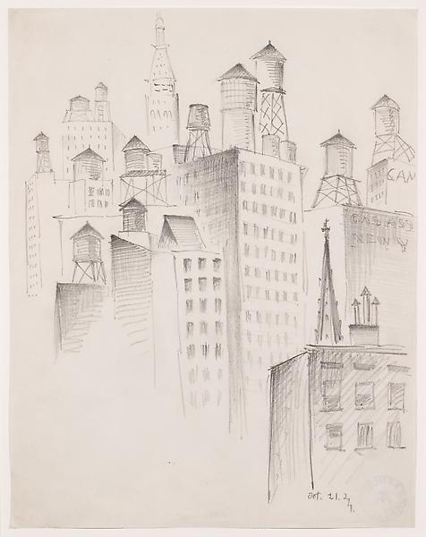 MANHATTAN SKYLINE — WATERTANKS, 1924 Graphit...
