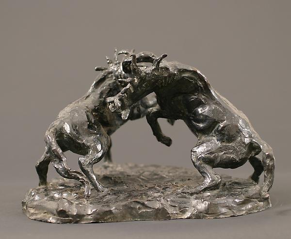 HORSES FIGHTING (A STUDY), c.1920 Bronze 7 x 10 3/...