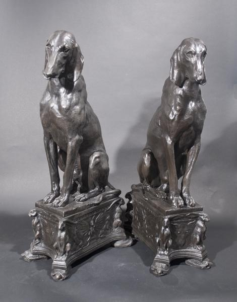 PAIR OF SEATED HOUNDS, Modeled 1912 Bronze; 32 x 9...
