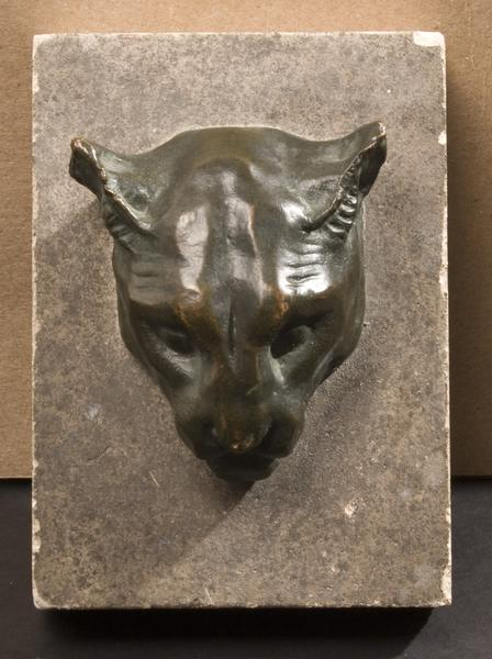 PUMA HEAD, c. 1912 Bronze on original stone mount...